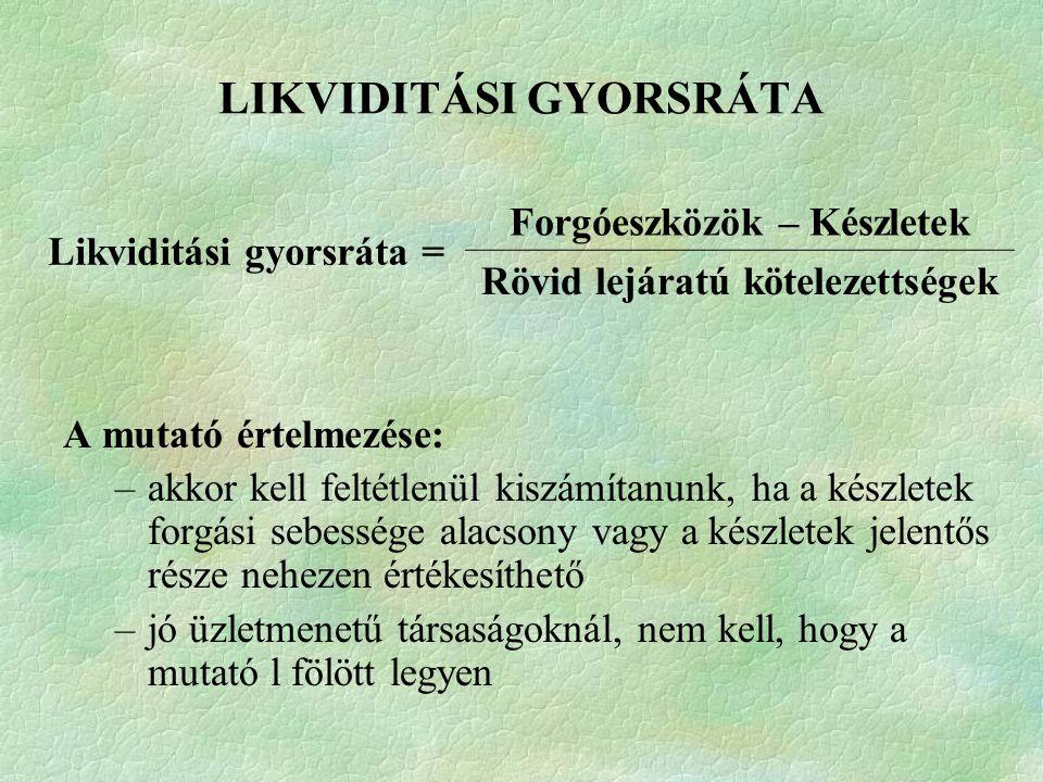 LIKVIDITÁSI GYORSRÁTA