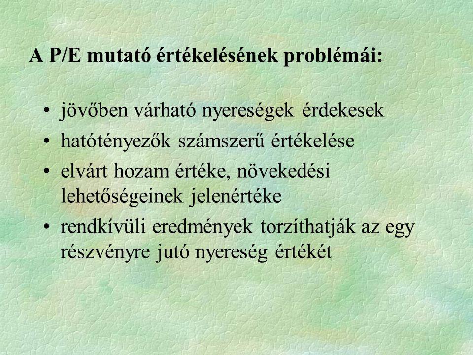 A P/E mutató értékelésének problémái: