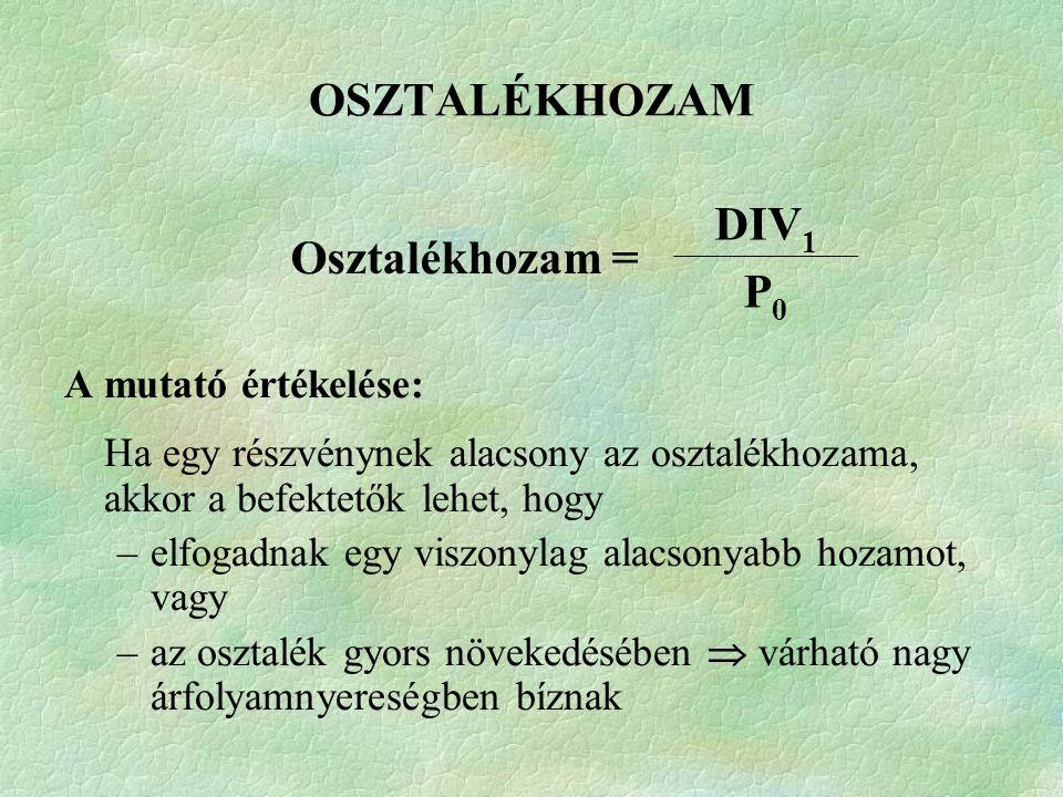 OSZTALÉKHOZAM Osztalékhozam = DIV1 P0