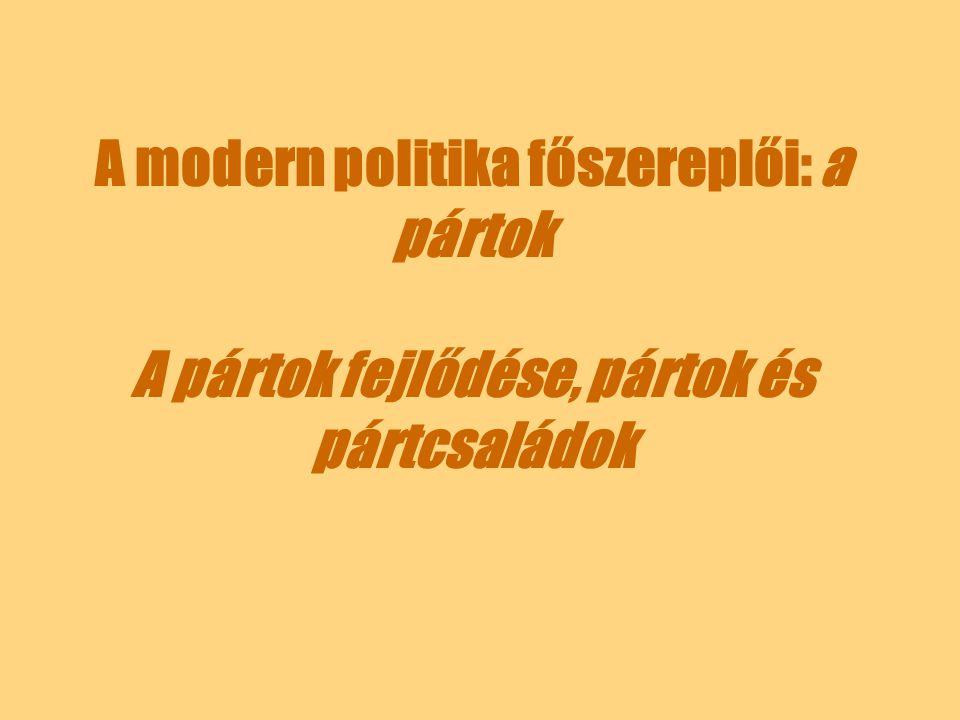 A modern politika főszereplői: a pártok A pártok fejlődése, pártok és pártcsaládok