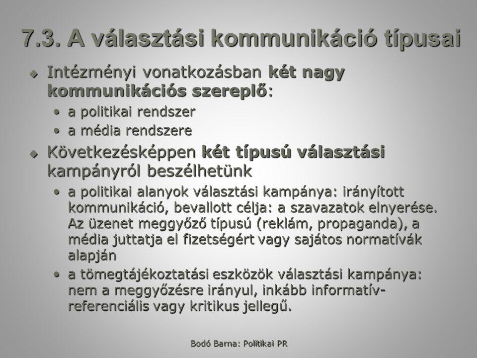 7.3. A választási kommunikáció típusai
