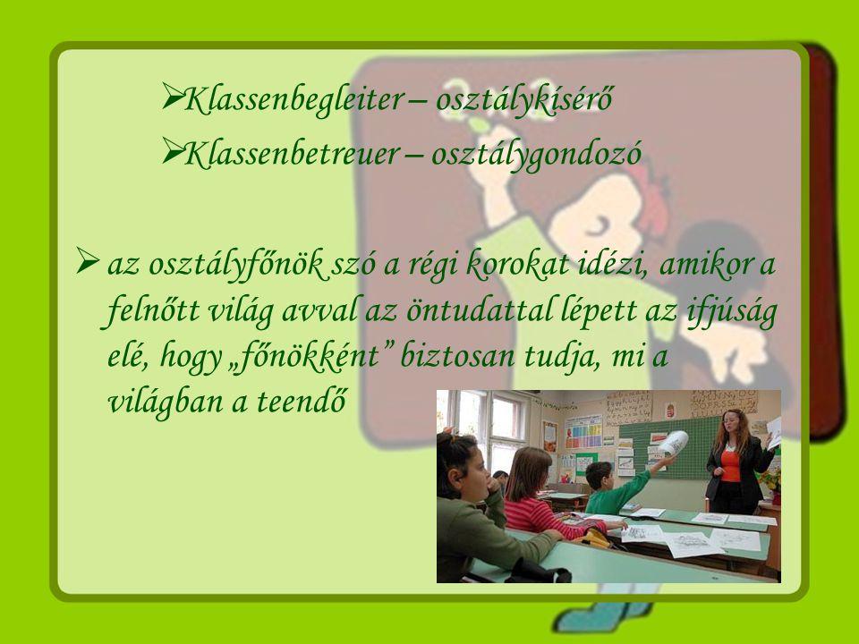 Klassenbegleiter – osztálykísérő