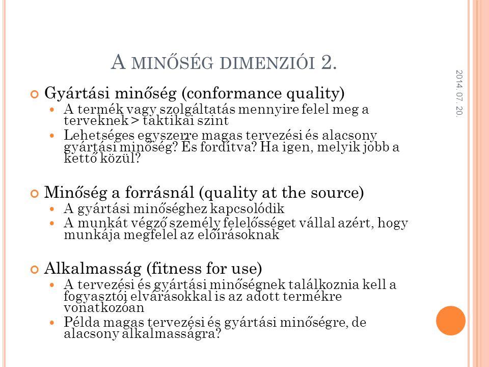 A minőség dimenziói 2. Gyártási minőség (conformance quality)