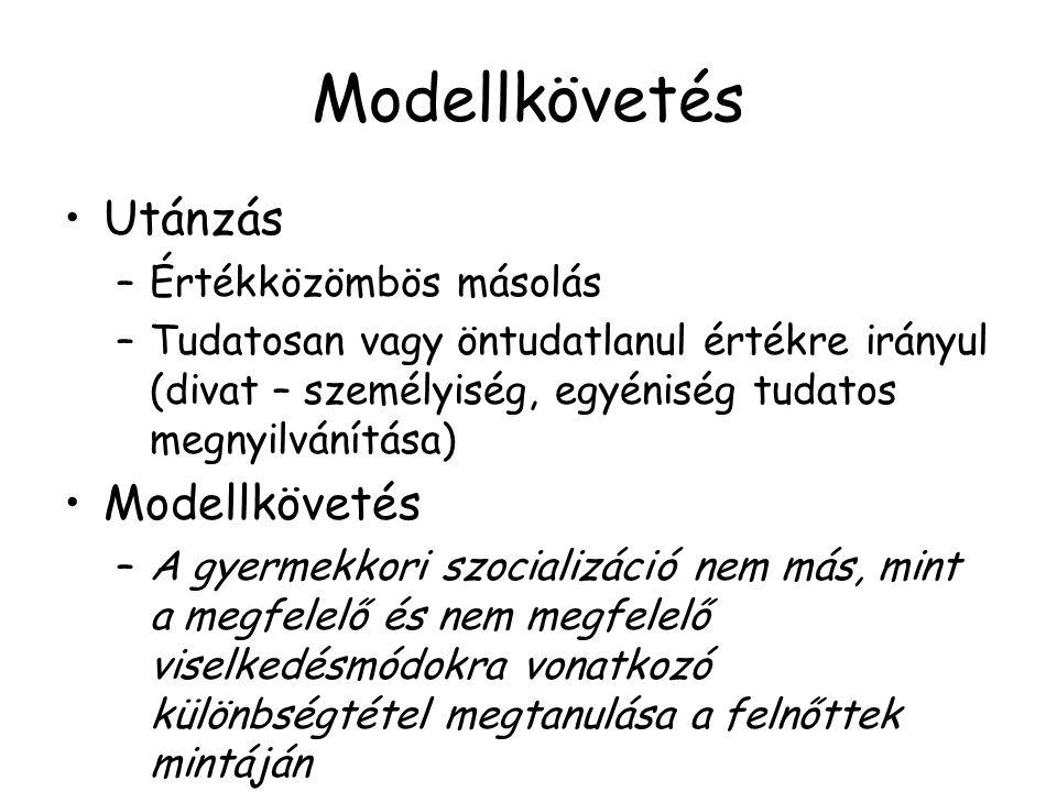 Modellkövetés Utánzás Modellkövetés Értékközömbös másolás