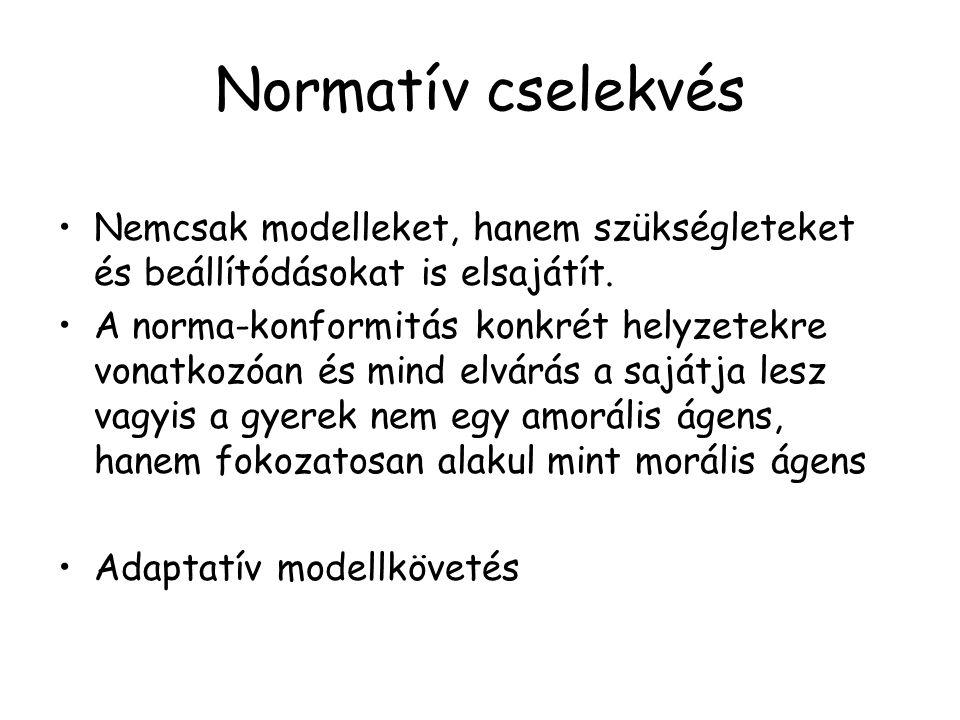 Normatív cselekvés Nemcsak modelleket, hanem szükségleteket és beállítódásokat is elsajátít.