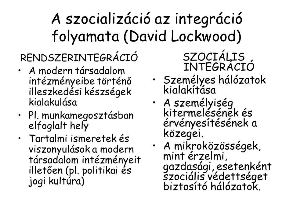 A szocializáció az integráció folyamata (David Lockwood)