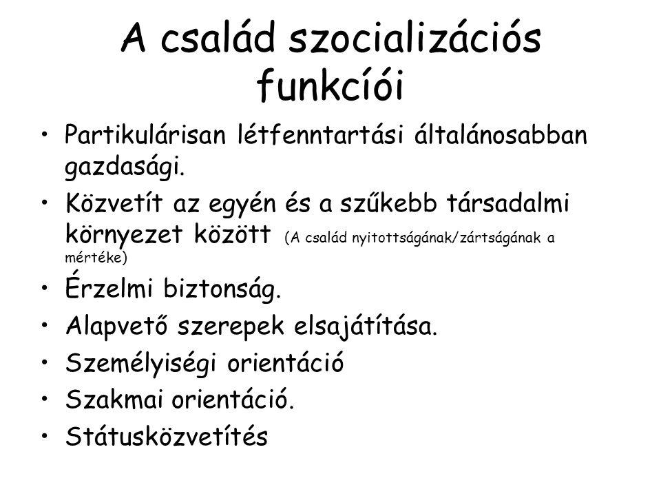 A család szocializációs funkcíói