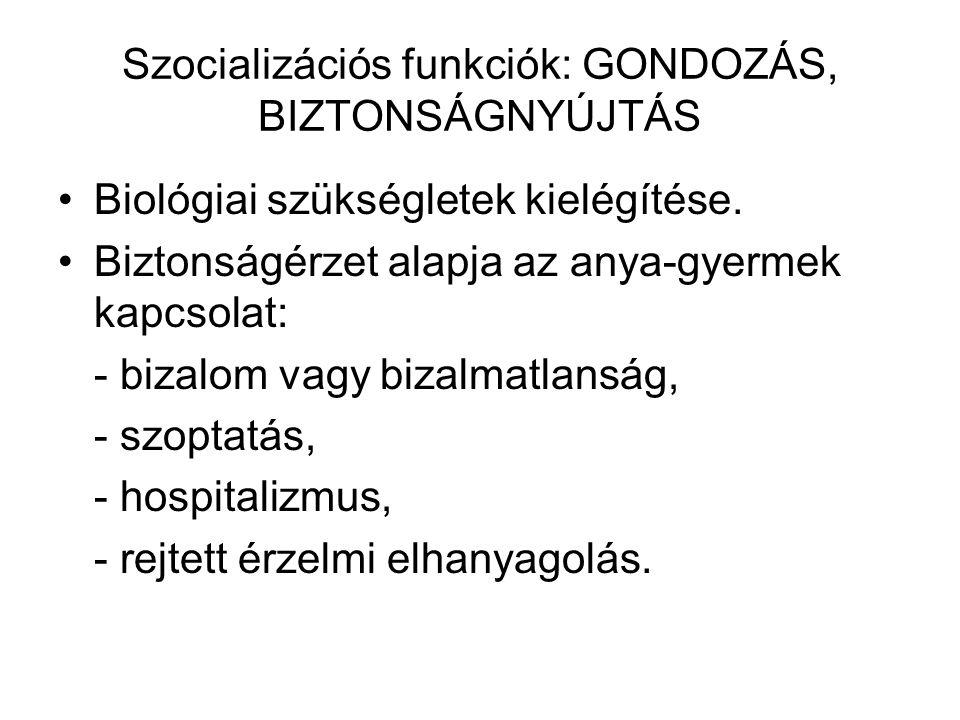 Szocializációs funkciók: GONDOZÁS, BIZTONSÁGNYÚJTÁS