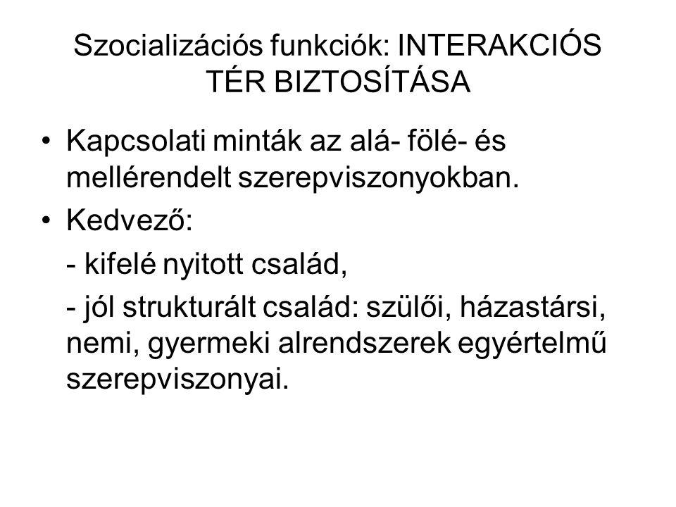 Szocializációs funkciók: INTERAKCIÓS TÉR BIZTOSÍTÁSA