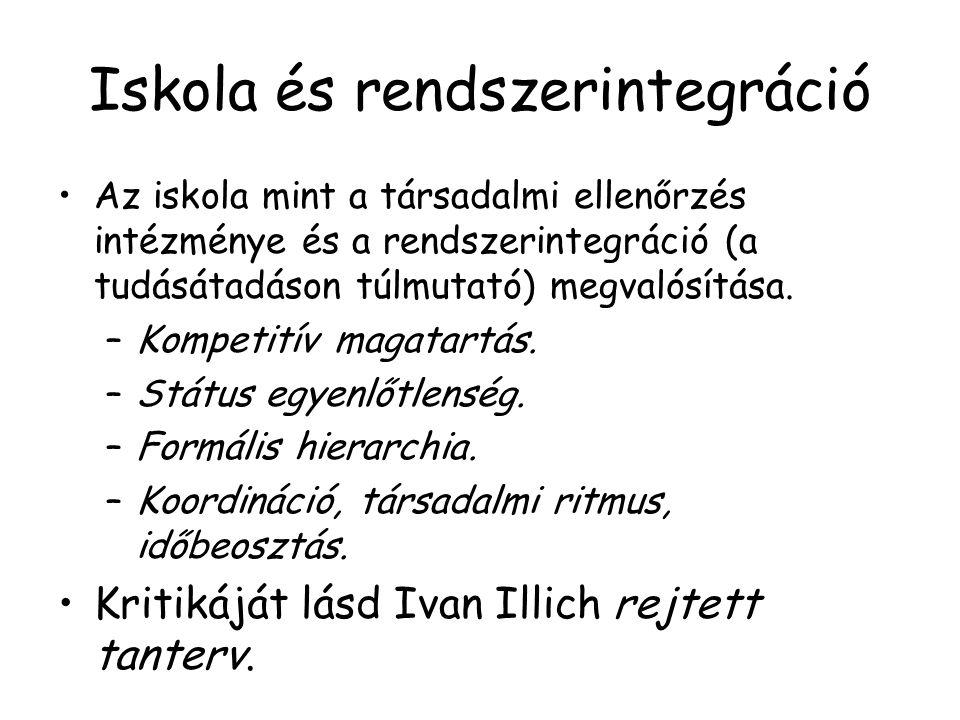 Iskola és rendszerintegráció