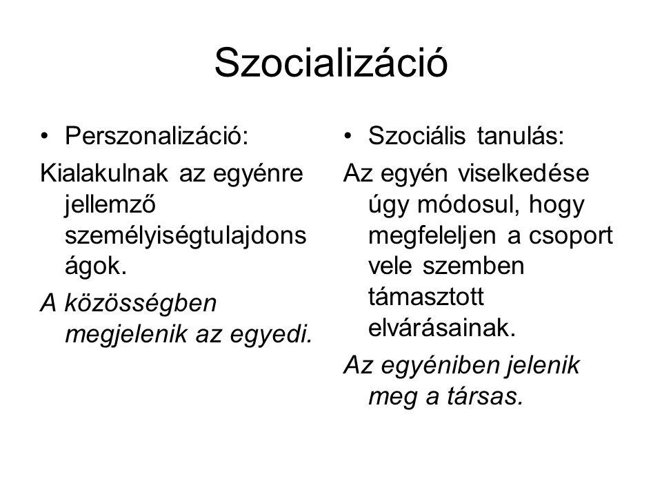 Szocializáció Perszonalizáció: