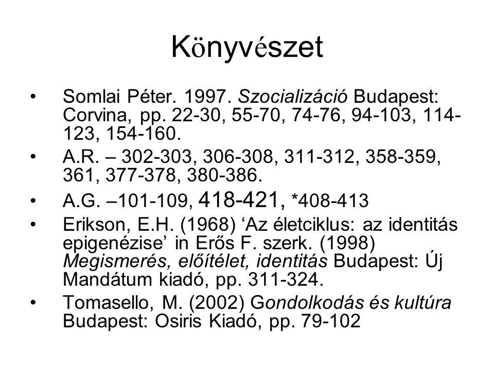 Könyvészet Somlai Péter. 1997. Szocializáció Budapest: Corvina, pp. 22-30, 55-70, 74-76, 94-103, 114-123, 154-160.