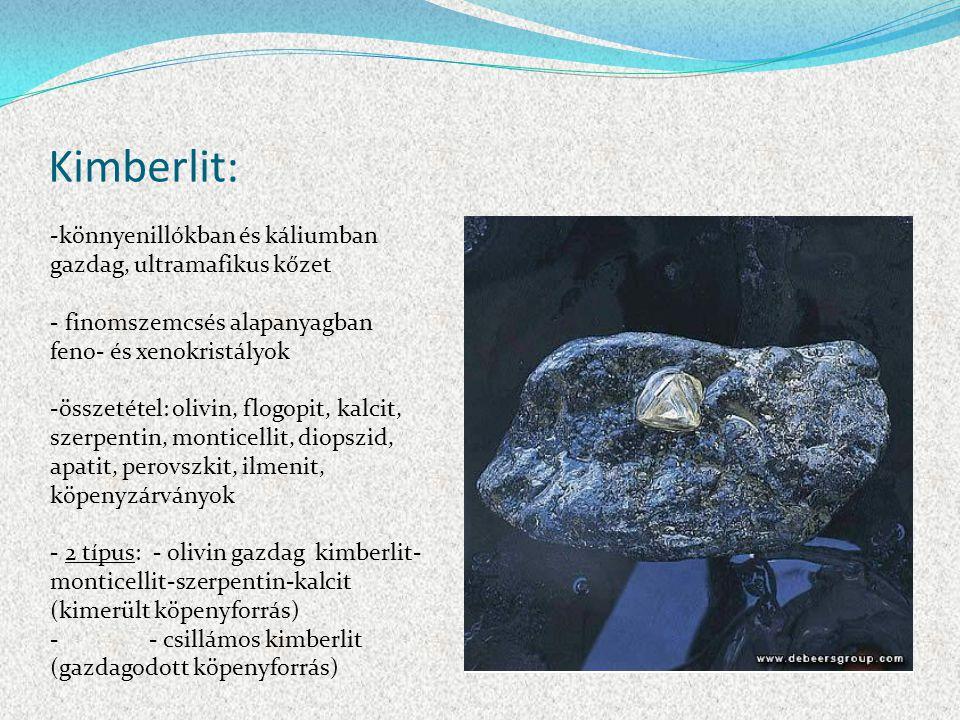 Kimberlit: könnyenillókban és káliumban gazdag, ultramafikus kőzet
