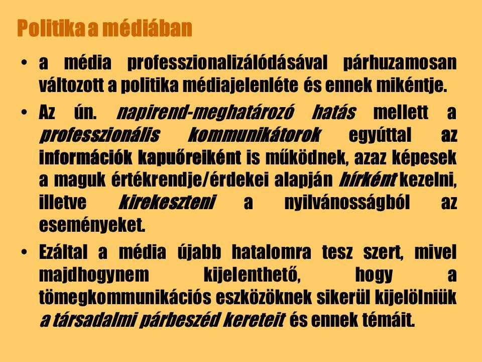 Politika a médiában a média professzionalizálódásával párhuzamosan változott a politika médiajelenléte és ennek mikéntje.
