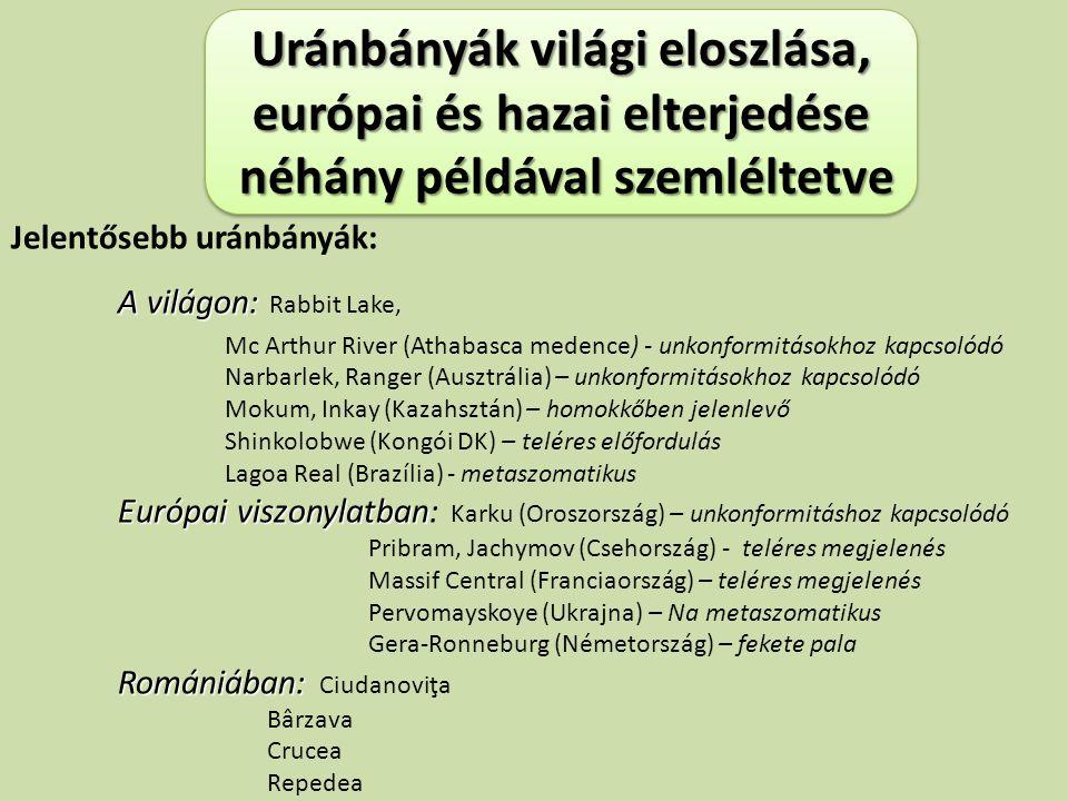 Uránbányák világi eloszlása, európai és hazai elterjedése