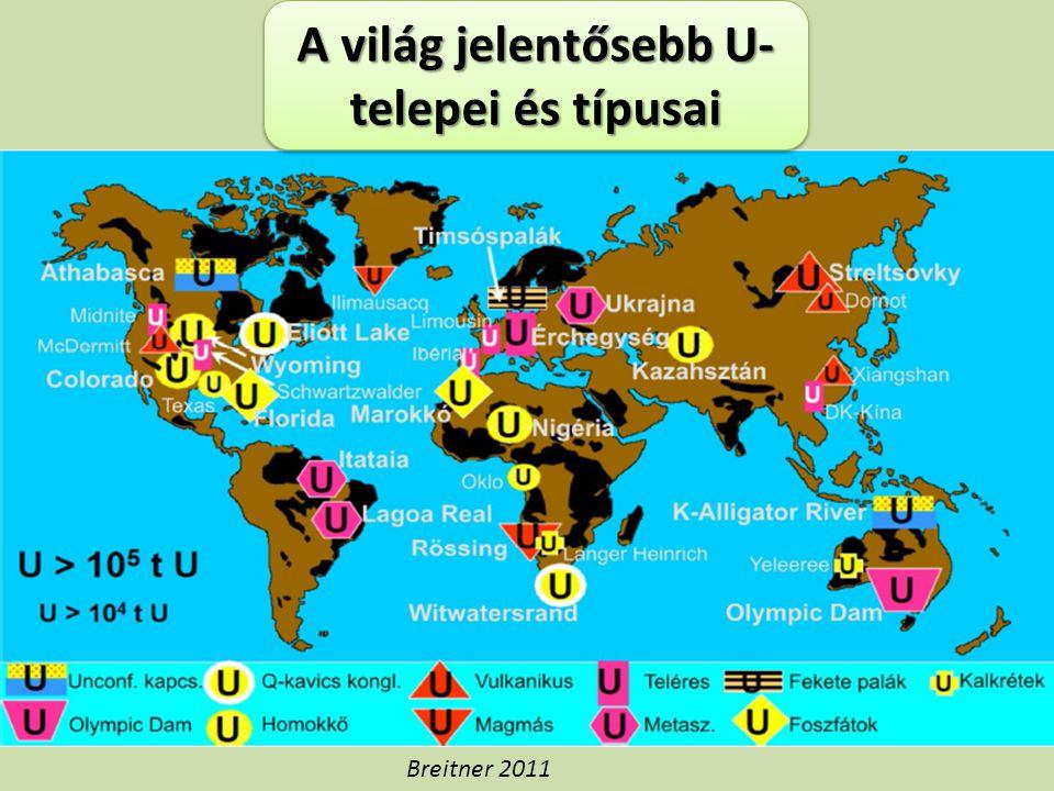 A világ jelentősebb U-telepei és típusai