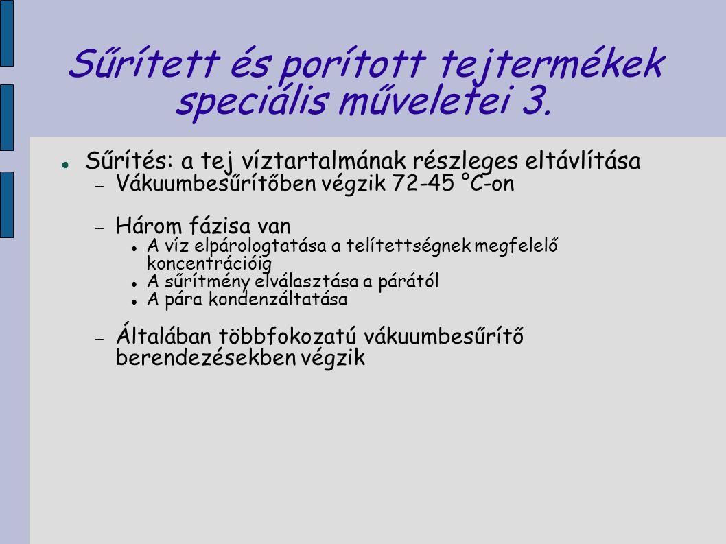 Sűrített és porított tejtermékek speciális műveletei 3.