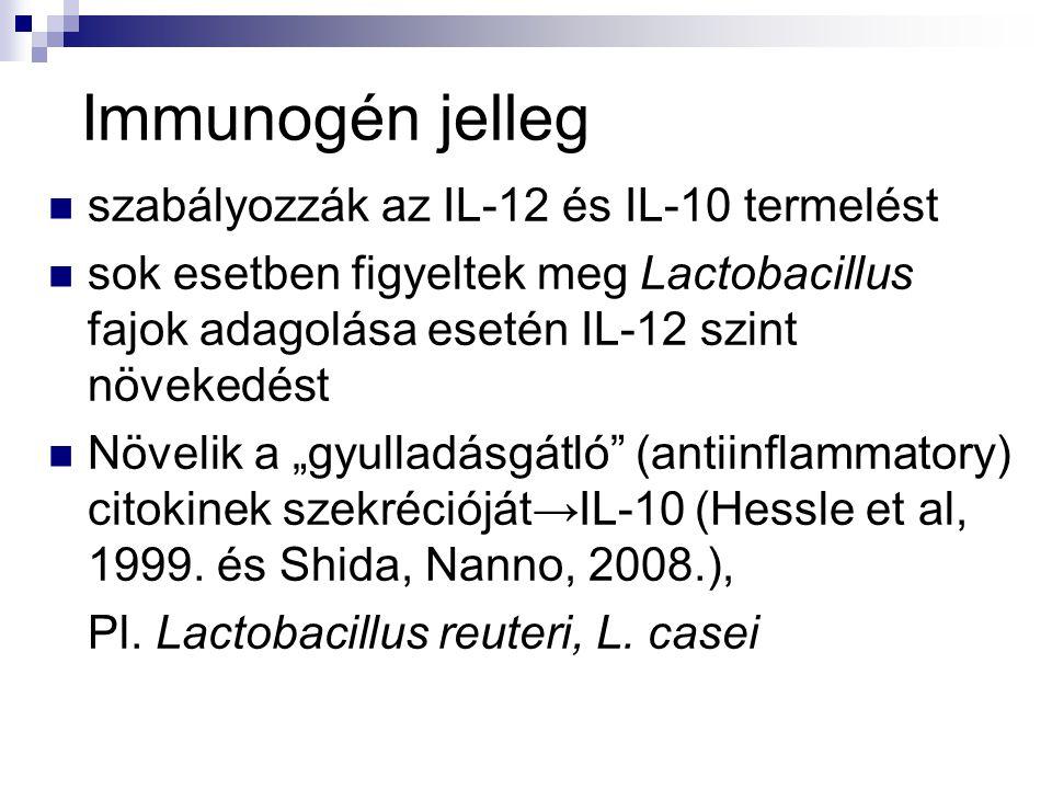 Immunogén jelleg szabályozzák az IL-12 és IL-10 termelést