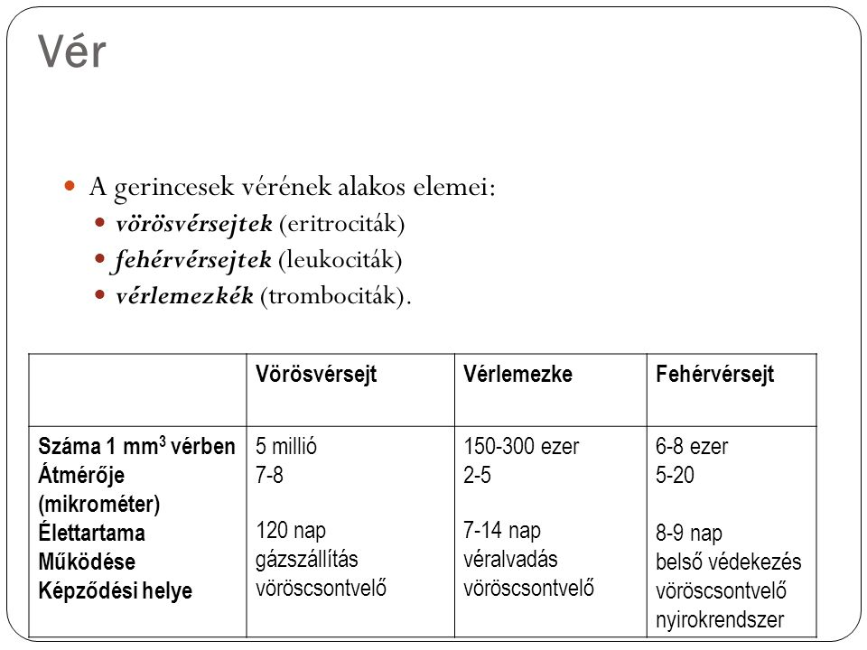Vér A gerincesek vérének alakos elemei: vörösvérsejtek (eritrociták)