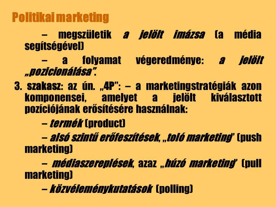 """Politikai marketing – megszületik a jelölt imázsa (a média segítségével) – a folyamat végeredménye: a jelölt """"pozicionálása ."""