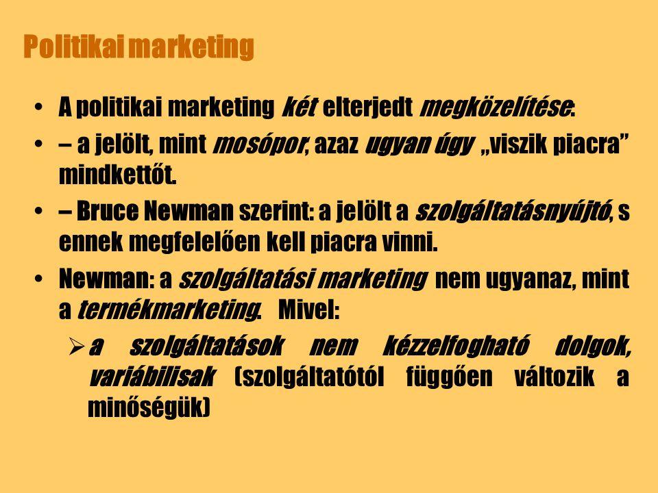 Politikai marketing A politikai marketing két elterjedt megközelítése: