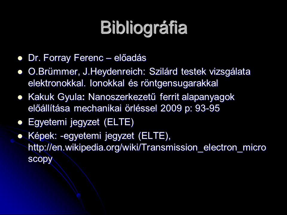 Bibliográfia Dr. Forray Ferenc – előadás