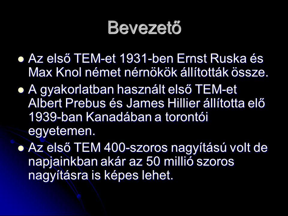 Bevezető Az első TEM-et 1931-ben Ernst Ruska és Max Knol német nérnökök állították össze.