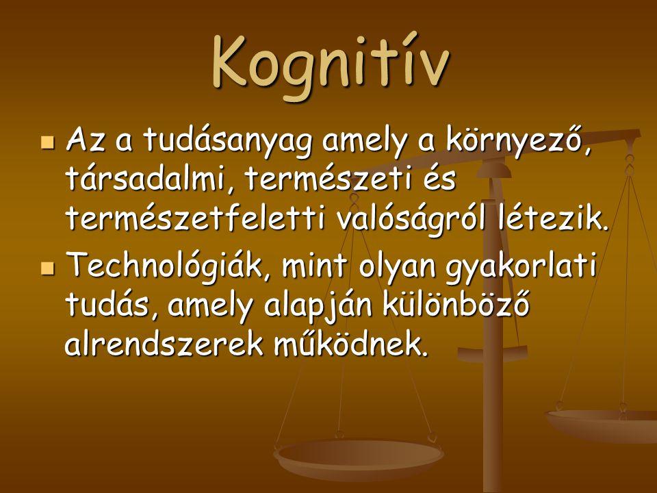 Kognitív Az a tudásanyag amely a környező, társadalmi, természeti és természetfeletti valóságról létezik.