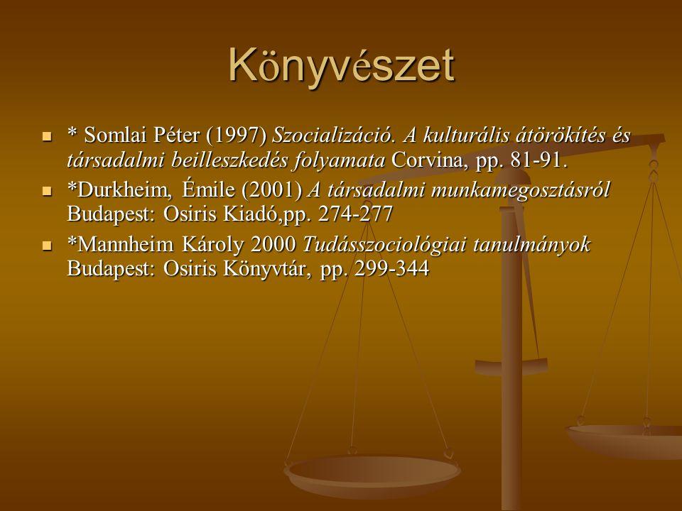Könyvészet * Somlai Péter (1997) Szocializáció. A kulturális átörökítés és társadalmi beilleszkedés folyamata Corvina, pp. 81-91.