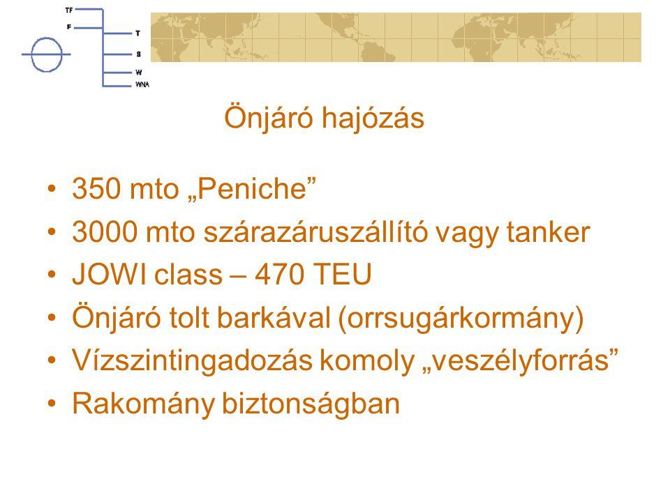 """Önjáró hajózás 350 mto """"Peniche 3000 mto szárazáruszállító vagy tanker. JOWI class – 470 TEU. Önjáró tolt barkával (orrsugárkormány)"""