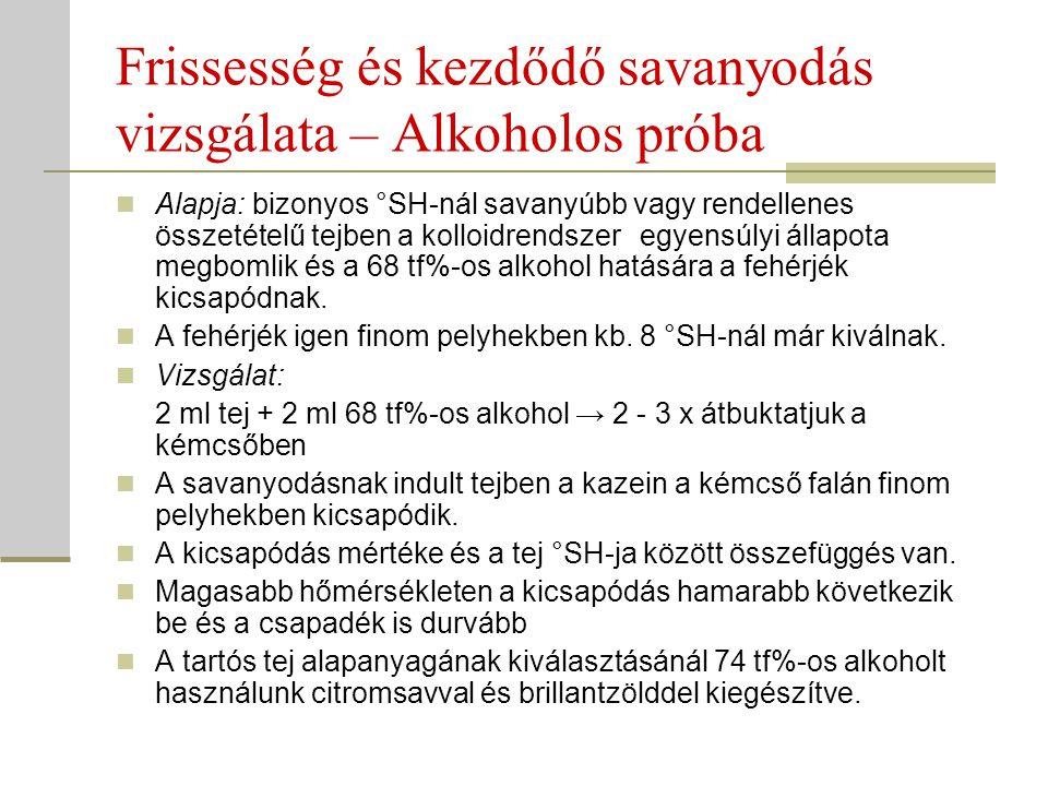 Frissesség és kezdődő savanyodás vizsgálata – Alkoholos próba