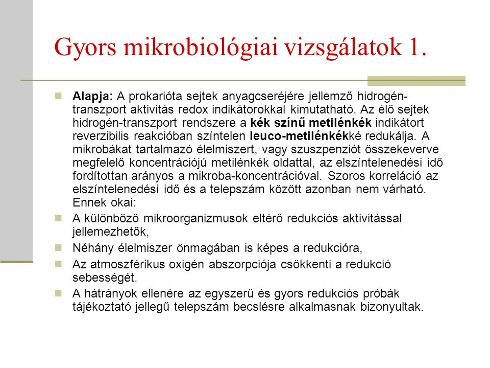 Gyors mikrobiológiai vizsgálatok 1.