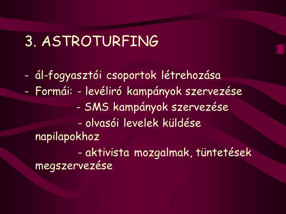 3. ASTROTURFING ál-fogyasztói csoportok létrehozása