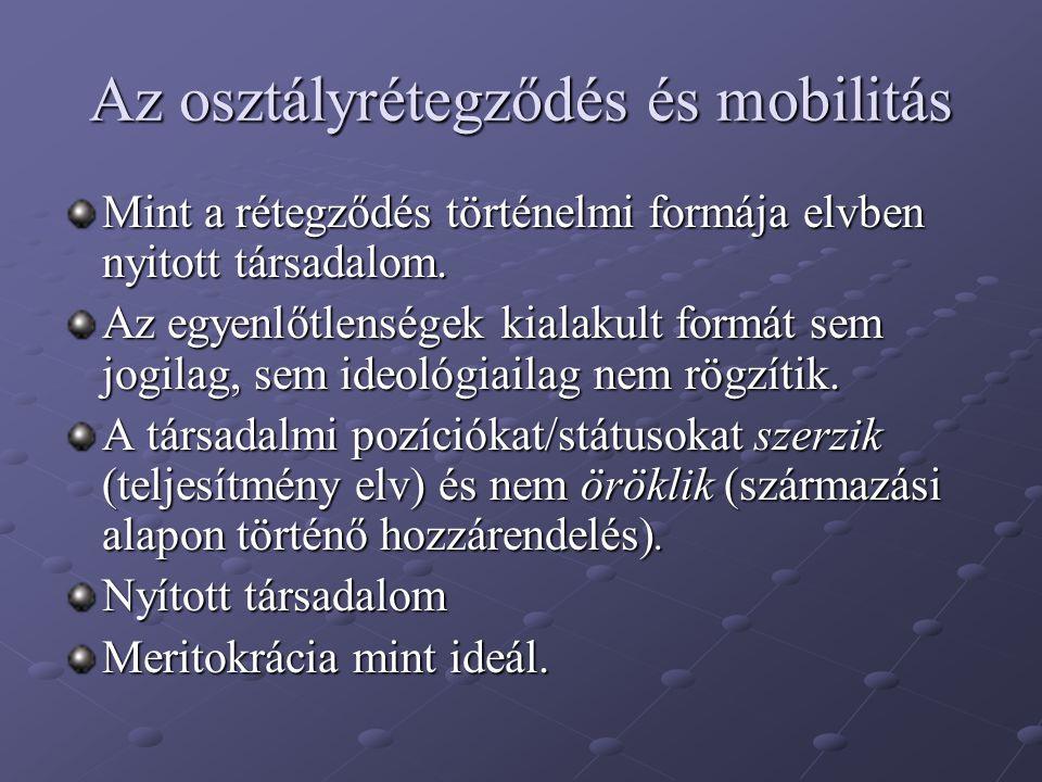 Az osztályrétegződés és mobilitás