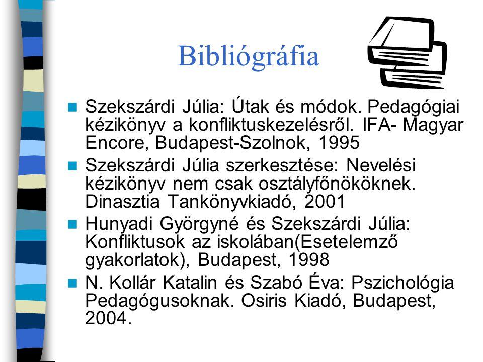 Bibliógráfia Szekszárdi Júlia: Útak és módok. Pedagógiai kézikönyv a konfliktuskezelésről. IFA- Magyar Encore, Budapest-Szolnok, 1995.