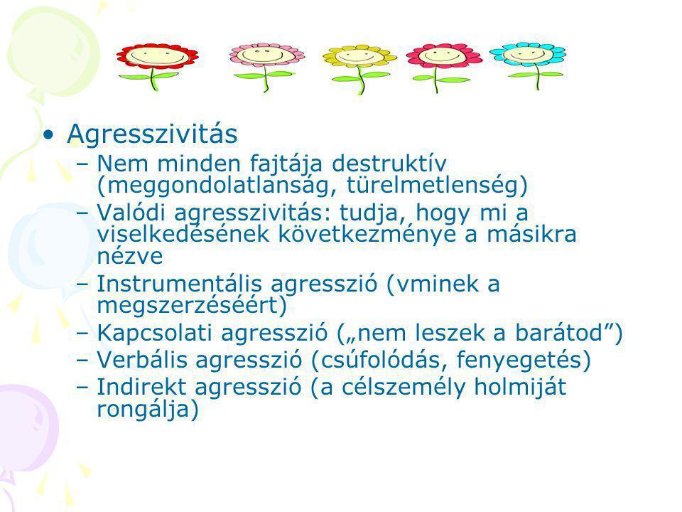 Agresszivitás Nem minden fajtája destruktív (meggondolatlanság, türelmetlenség)