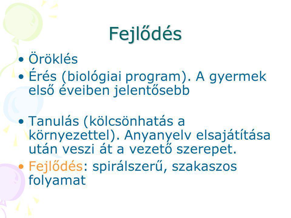 Fejlődés Öröklés. Érés (biológiai program). A gyermek első éveiben jelentősebb.