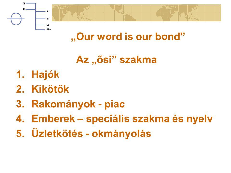 """""""Our word is our bond Az """"ősi szakma. Hajók. Kikötők. Rakományok - piac. Emberek – speciális szakma és nyelv."""
