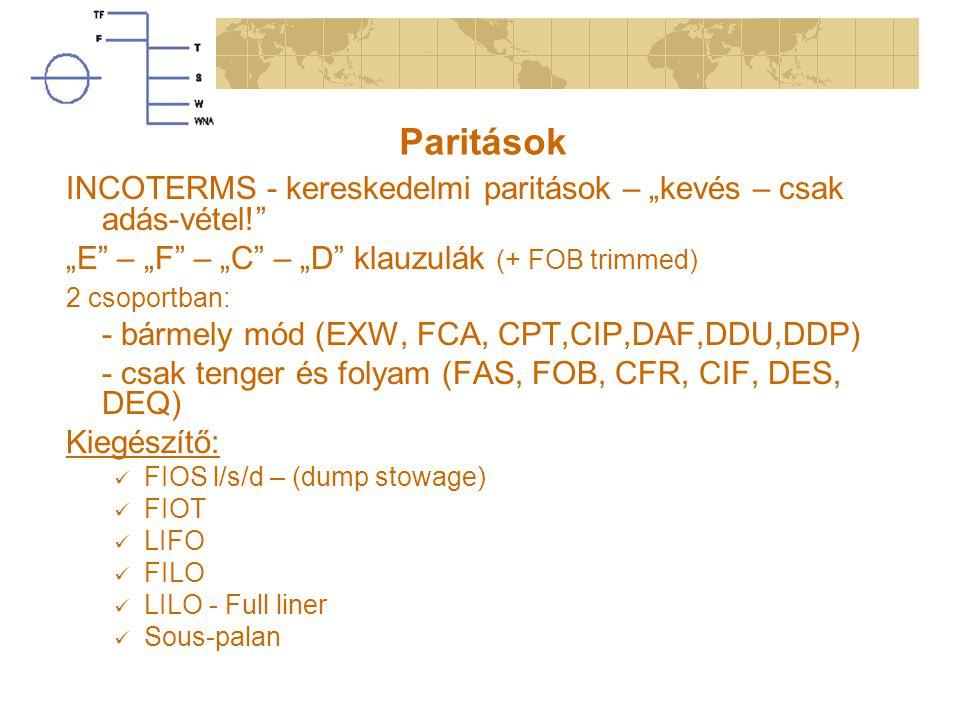 """Paritások INCOTERMS - kereskedelmi paritások – """"kevés – csak adás-vétel! """"E – """"F – """"C – """"D klauzulák (+ FOB trimmed)"""