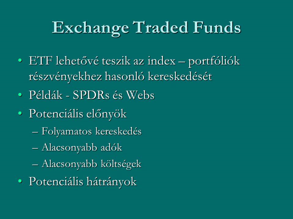 Exchange Traded Funds ETF lehetővé teszik az index – portfóliók részvényekhez hasonló kereskedését.