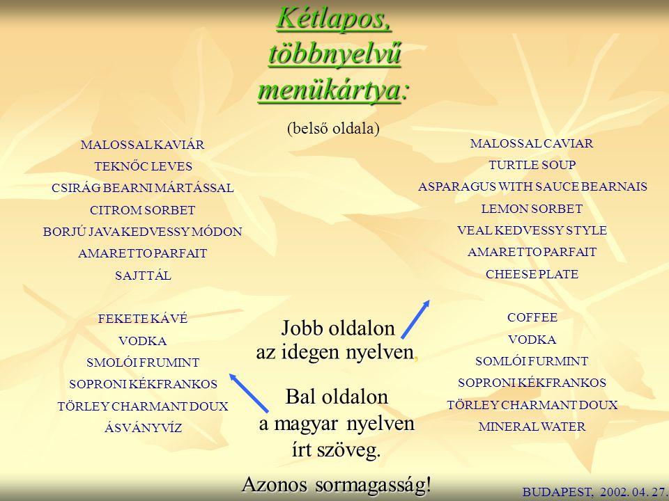 Kétlapos, többnyelvű menükártya: Jobb oldalon az idegen nyelven,