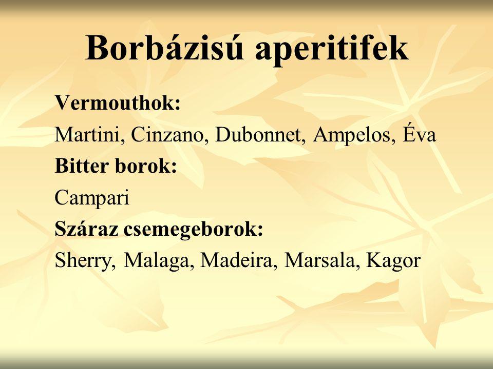 Borbázisú aperitifek Vermouthok: