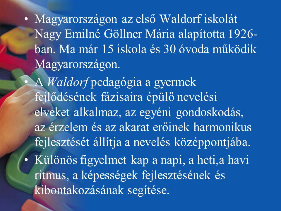 Magyarországon az első Waldorf iskolát Nagy Emilné Göllner Mária alapította 1926-ban. Ma már 15 iskola és 30 óvoda működik Magyarországon.