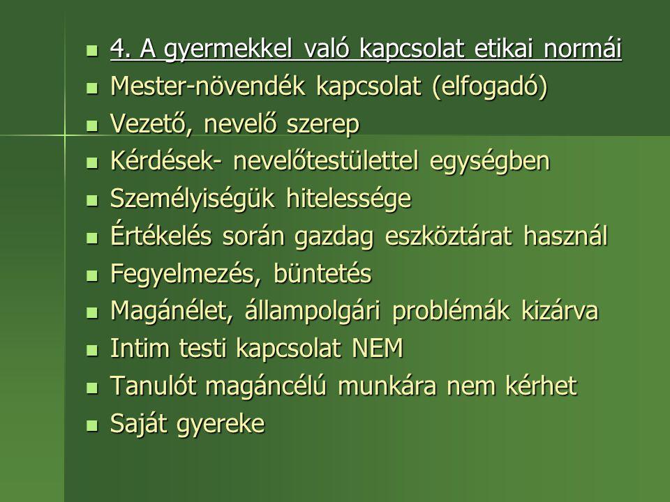 4. A gyermekkel való kapcsolat etikai normái