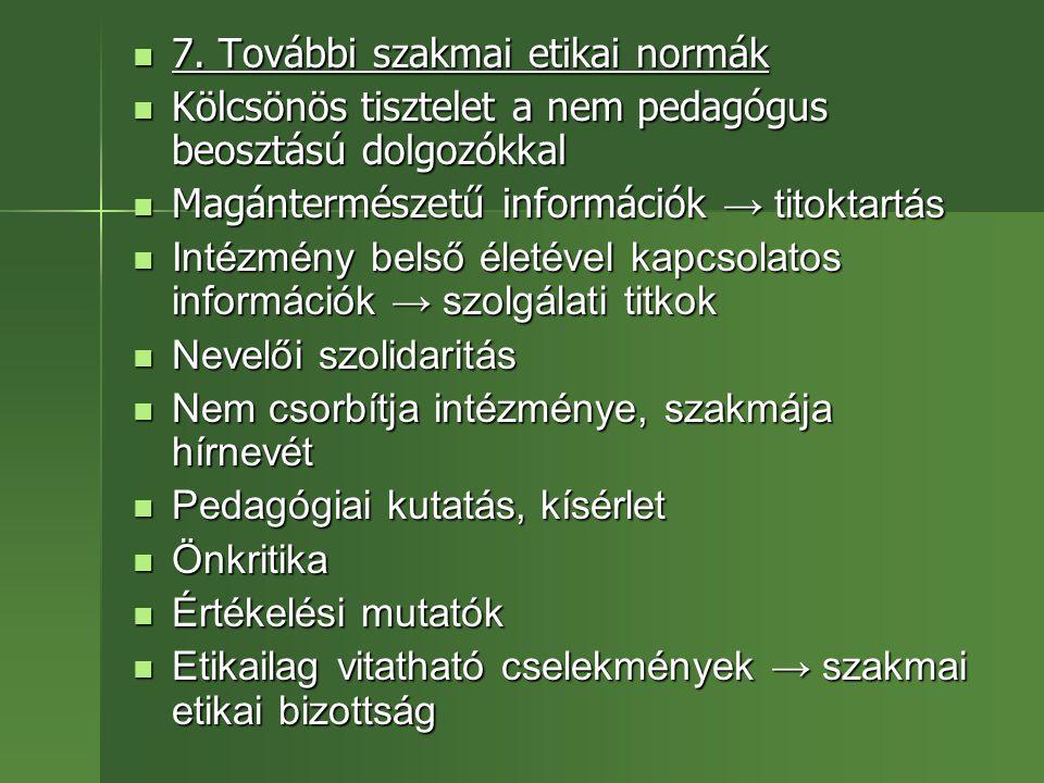 7. További szakmai etikai normák
