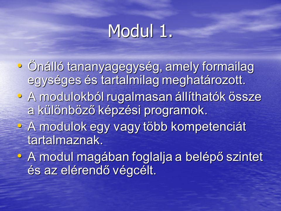 Modul 1. Önálló tananyagegység, amely formailag egységes és tartalmilag meghatározott.