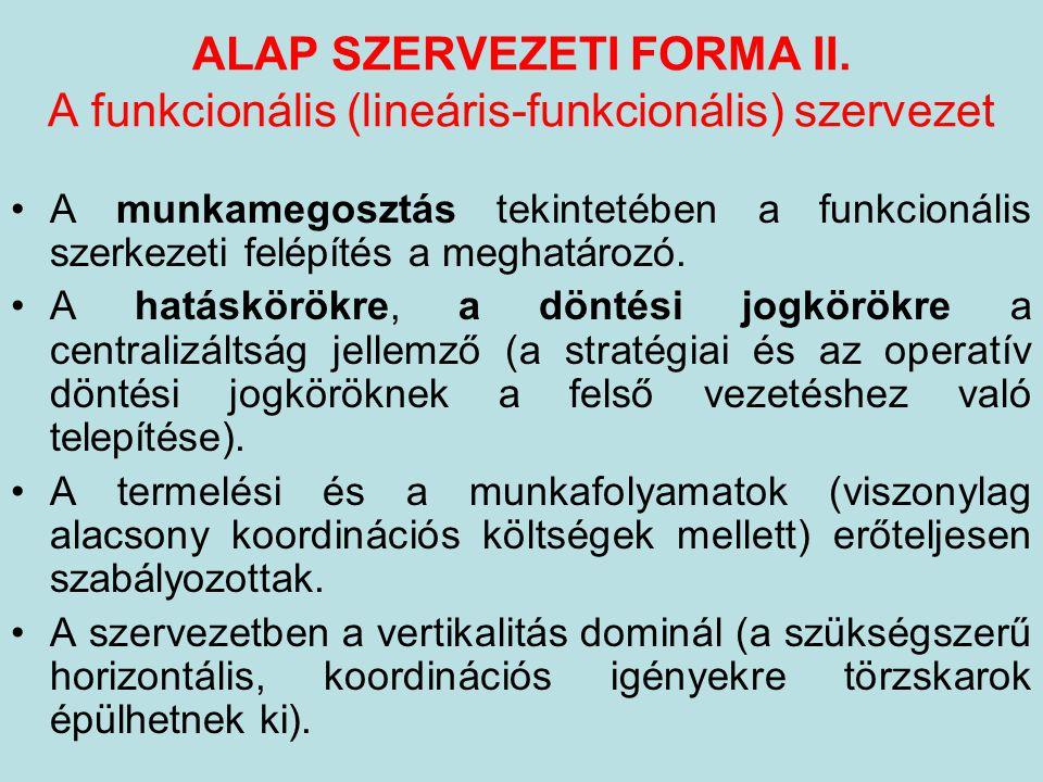 ALAP SZERVEZETI FORMA II