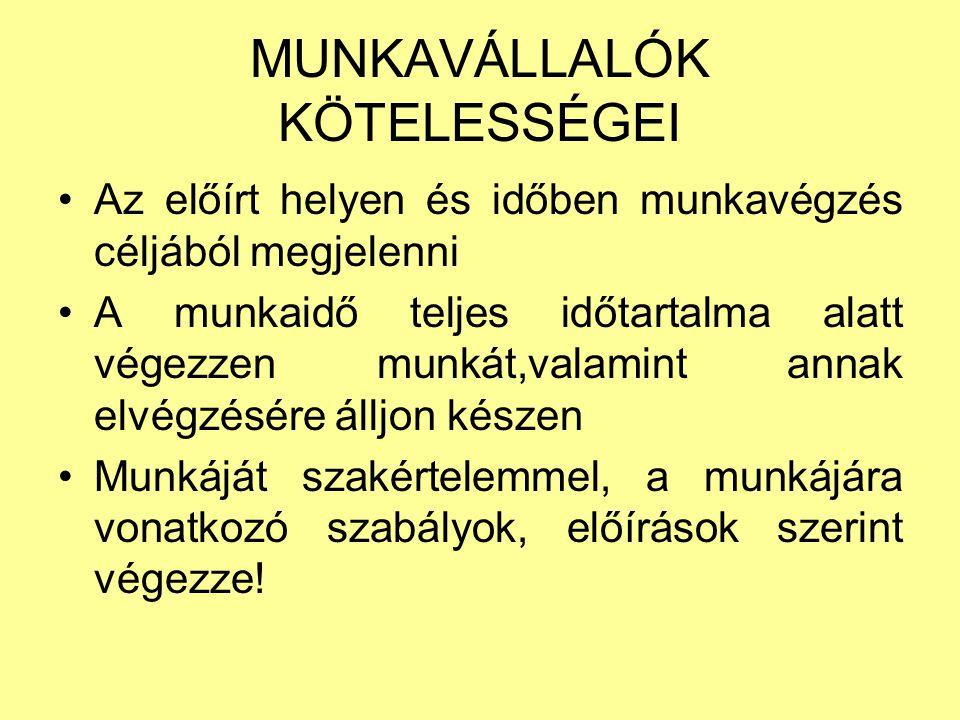 MUNKAVÁLLALÓK KÖTELESSÉGEI