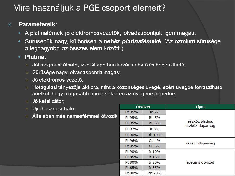 Mire használjuk a PGE csoport elemeit