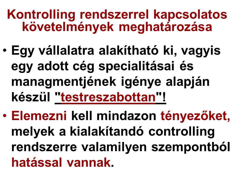 Kontrolling rendszerrel kapcsolatos követelmények meghatározása